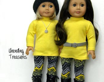 18 inch doll clothes made to fit like american girl doll clothes yellow turtleneck tunic top and aztec print leggings