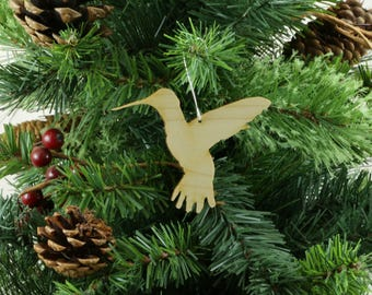 Hummingbird Ornament in Wood or Mirror Acrylic Customizable with Name - Design 1