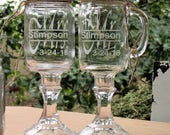 Elegant Pair of Personalized Redneck Wine Toasting Glasses  Mr. Mrs. Last Name  Choice of Daisy Lids  Mason Jars  Now, I am Complete ©