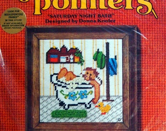 Saturday Night Bath Needlepointers By Donna Kooler And Sunset Designs Vintage Unopened Needlepoint Kit 1977