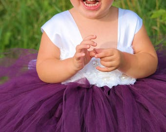 Flower girl dress - Tulle flower girl dress - Plum Dress -Tulle dress-Infant/Toddler -Pageant dress -Princess dress-Plum/White flower dress