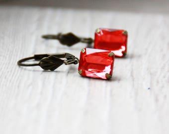 Earrings, bronze earrings, orange flower