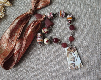 rustic ceramic necklace,sari silk statement necklace, boho necklace, shabby chic necklace, orange and red necklace, unique jewelry, gift