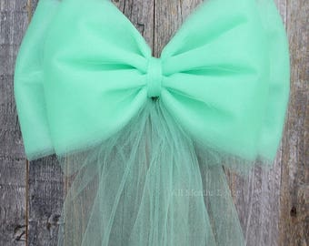 Mint Green Tulle Pew Bow | Optional Bling Silver or Gold | Wedding Church Ceremony Decoration | Chair Party Bridal | It's A Baby Boy Shower