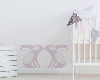 Wall Sticker Bunny - Decal - Bunnies - woodland - kids wall stickers - home decor - wall sticker - nursery wall stickers