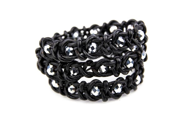 Wrapped real leather bracelet with faceted glass beads