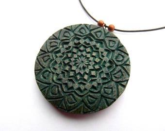 MANDALA number 2 pendant / handcarved on walnut wood