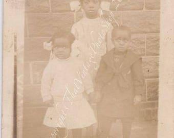 Vintage RPPC - Black Americana - Identified Children 3