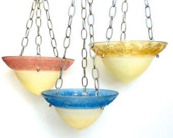 Hanging glass garden art bird feeder, hanging bird feeder, garden bird feeder, glass garden art, set of 3 bird feeders, glass bird feeders
