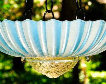 Outdoor glass garden art bird feeder, outdoor bird feeder, outdoor garden art, glass garden art, glass bird feeder, garden bird feeder blue