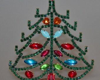 Czech Rhinestone Vintage Christmas #Tree Free Standing