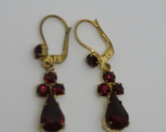 Vintage Gold Plated Ruby Red Dangle Earrings
