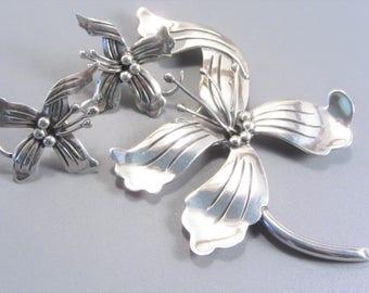 Vintage Mexican Sterling Maricela Flower Brooch and Earrings Jewelry Set