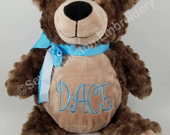 Monogram bear etsy bobby brown bear personalized baby gift personalized stuffed animal monogrammed bear embroidered birth announcement animal negle Images