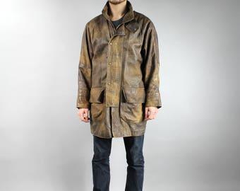 90s Distressed Genuine Leather Brown Grunge Rocker Men's Long Coat . Oversized Men's Urban Warmed Leather Duster Coat . Warm Jacket  L XL