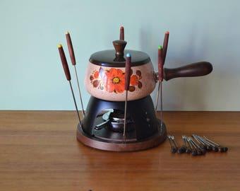 Reserved:Vintage Fondue set enamelled saucepan BNIB