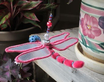 Dragonfly Ornament - Housewarming Gift - Bridesmaid Gift - Christmas - Birthday Gift - Pink and Blue