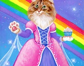 Princess Cake Art Print - Rainbow Princess Queen Royal Kitty Cat Painting - Cute Silly Colorful Fine Art - Wall Art - Home Decor
