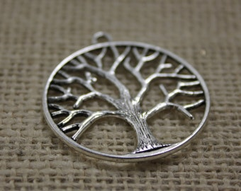 Large Pewter Silver Tree of Life Pendants (3 Pieces)