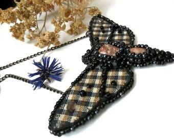 """Pendant necklace """"moth checkered""""  Hawk Moth Necklace,  Jewelry, Butterfly Necklace, Animal Necklace Butterfly Jewelry"""