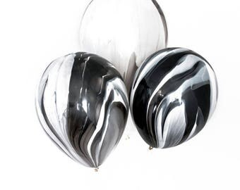 Black and White Marble Balloon Set - Marble Balloons, Black Marble Balloons, Agate Balloon Set