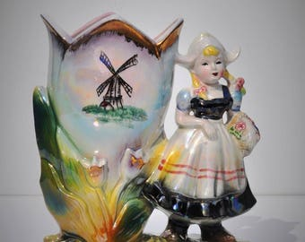 """Vintage Lusterware Ceramic Vase, 8"""" Figural Dutch Girl with Giant Tulip, Wind Mill, Wooden Shoes, Japan, 1950's Lefton Napco Sonsco Style"""