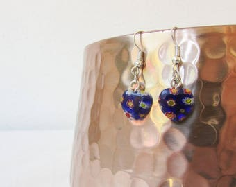 CLEARANCE Blue heart earrings, glass heart, millifiori glass earrings, small earrings, simple lightweight earrings, handmade in the UK