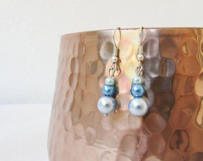 CLEARANCE Blue pearl earrings,  handmade in the UK