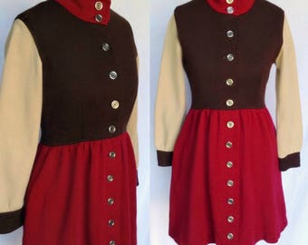 Vintage 60s 70s Designer Jaeger label Mod Psych Brown, Red & Tan Color Block Wool Scooter Mini Dress Small