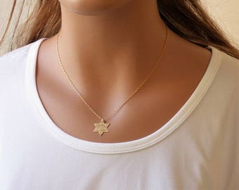 100% Gold filled Star of David Necklace, Magen David Necklace, Gold Magen David Necklace, Gold Star of David necklace, Jewish jewelry