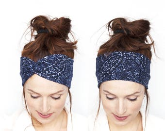 Midnight Blue Turban Headband for Women Turban Headband Navy Headwrap Dark Blue Headband Twist Headband Women Blue Turban Headband