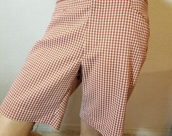 FREE  SHIPPING   1970 Herringbone Bermuda Shorts