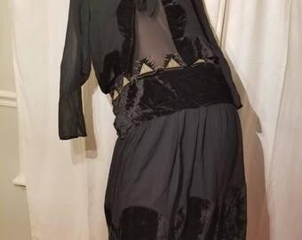 FREE  SHIPPING  1920  Silk  Velvet  Dress