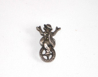 Vintage sterling silver brooch, clown on a unicycle, tiny Marcasite clown brooch, lapel pin, hat pin, vintage silver, vintage jewellery