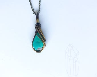 Turquoise Gemstone Necklace Wire Wrapped Pendant in Copper Wire with Antique Brass Finish - December Birthstone