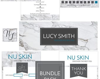 NUSKIN Bundle Pack, Direct Sales Marketing Kit, Business Card, FB Cover, Thank You for Your Purchase Card, Gift Certificate, Loyalty Card