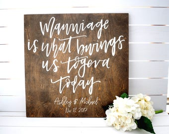 Wedding Welcome Sign Large Mawwiage Princess Bride Quote Custom Personalized Welcome Sign Large Hand Lettered Design Wood Welcome Sign