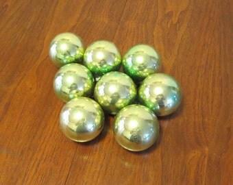"8 vintage 1950s 1960s Shiny Brite glass Christmas tree ornaments decorations jewel tone green 2 3/4"" diameter"