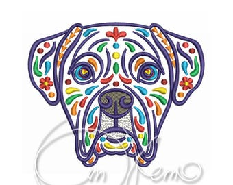 MACHINE EMBROIDERY DESIGN - Calavera Boxer, Dia de los muertos, calavera dog, day of the dead