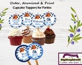 All Star Sports Baby Shower Cupcake Toppers, Stickers or Party Favors, 2 inch Printable - Instant Download