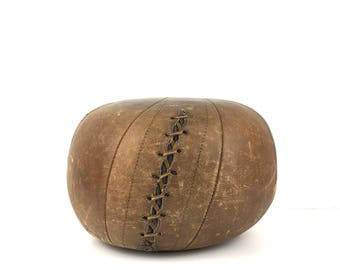 Antique Leather Medicine Ball 1900s Brown Leather Medicine Ball Vintage Leather Medicine Ball