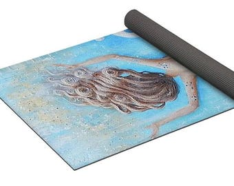 Mermaid yoga mat, blue exercise yoga pad, mermaid gift, Original mermaid art by Nancy Quiaoit