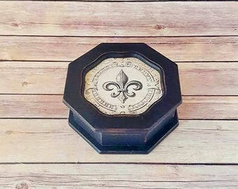 Jewelry Box Wood - Black Jewelry Box - French Country Decor - Fleur de Lis - Up-Cycled - Eco-Friendly - READY TO SHIP