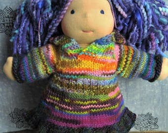 """Waldorf doll clothes, Waldorf doll hooded sweater dress,  dress for 15-18"""" doll"""