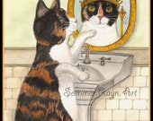 Chloe the Calico Cat that sees herself as a Queen,  whimsical portrait, card/print, Cats, Drawing Item #0575a