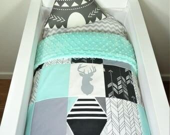 Bassinet/pram items or set - Black, grey and mint, deer and arrow patchwork