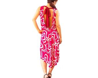 Mod Print Tango Dress - Argentine Tango Dress - Cowl Neck Dress - Open Back Dress - Summer Tango Dress - Lace Tie Dress - Milonga Dress