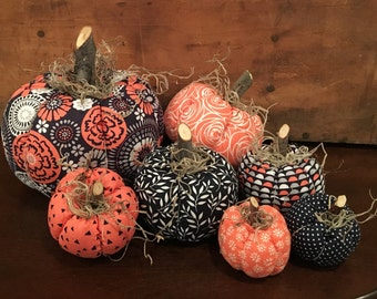 Fabric Pumpkins, Navy Peach 7