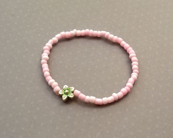 Pink Stretch Bracelet. Flower Bracelet. Friendship Stretch Bracelet. Handmade Bracelet. Pink Bracelet. Gift For Women. Gift Under 10 Dollar.