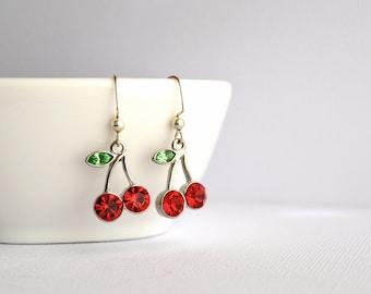 Cherry earrings, Summer earrings, Fruit earrings, Red and Green earrings, Gift for her, Gift under 20 dollar, Charm earrings, Bohemian